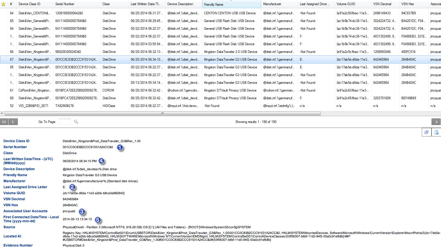 Windows registry files showing history - Device