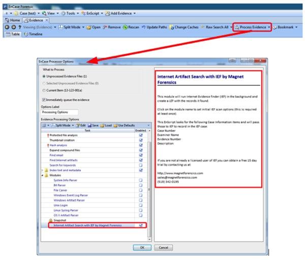 """""""Evidence Processor"""" configuration screen"""