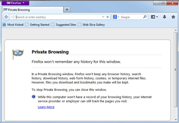 private browsing dialogue