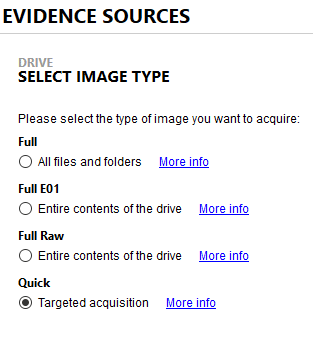 Magnet AXIOM Evidence Sources Select Image Type