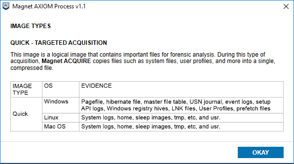 Magnet AXIOM Image Types Targeted Acquisition
