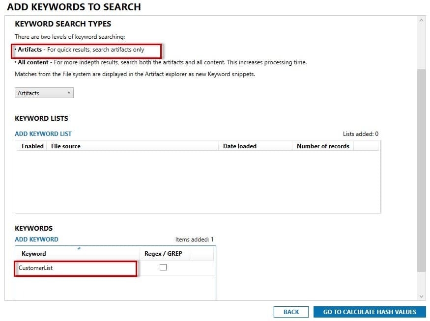 Adding keywords to search