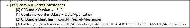 "The manifest.plist file showing that ""Anti Chat.app"" comes back to ""com.NH.Secret-Messenger"""