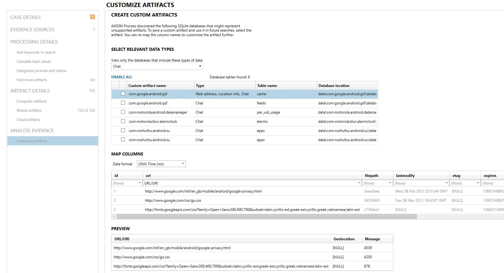 Screenshot of Magnet AXIOM Dynamic App Finder