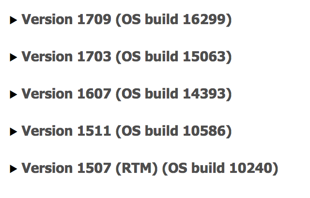 Screenshot of list of Windows version numbers and OS build numbers