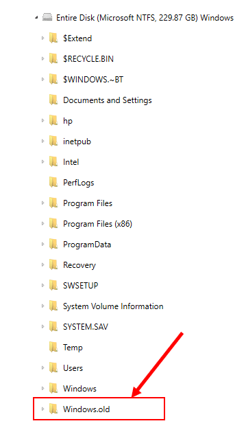 Screenshot of AXIOM evidence file showing Windows.old