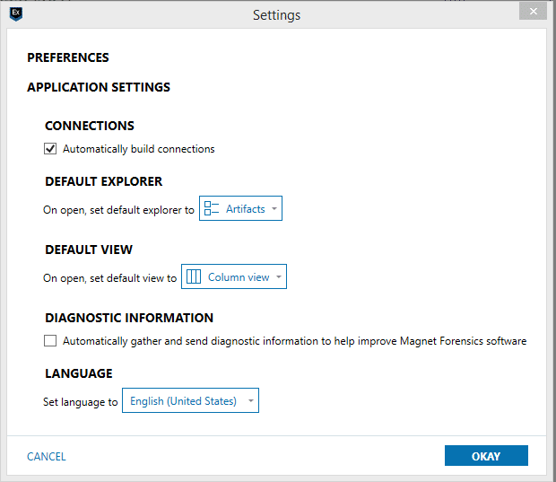 Screenshot of AXIOM Connections Settings