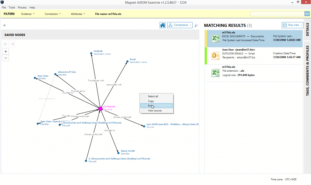 """Screenshot of using """"Print"""" option to export a Connections graph"""