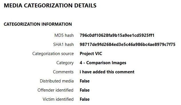 Media Categorization Details