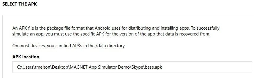 Selecting the APK