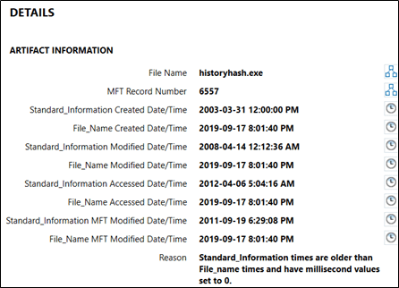 NTFS Timestamp Mismatch Artifact