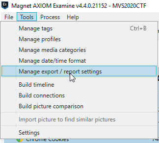 Manage export / report settings.