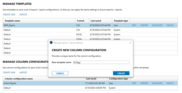 Create new column configuration