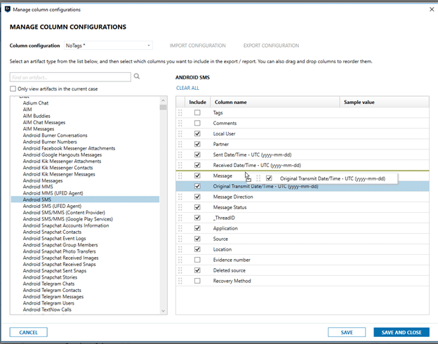 Manage Column Configurations