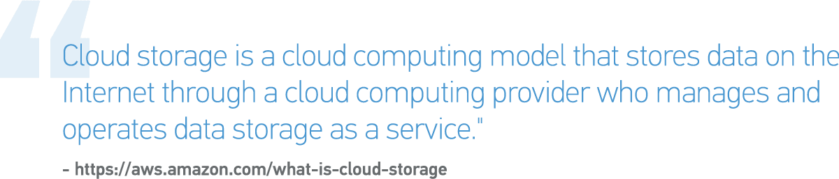 """Cloud storage is a cloud computing model that stores data on the Internet through a cloud computing provider who manages and operates data storage as a service."""