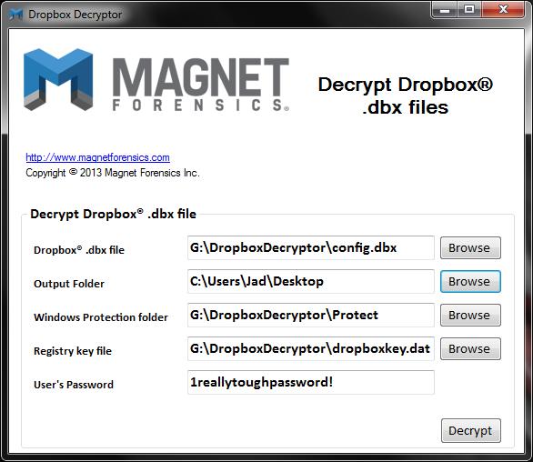 Dropbox Decryptor - config.dbx